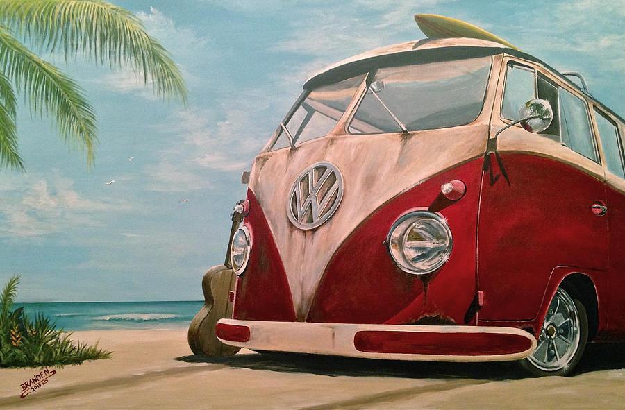 Vintage Vw Bus Painting - Surfin by Branden Hochstetler