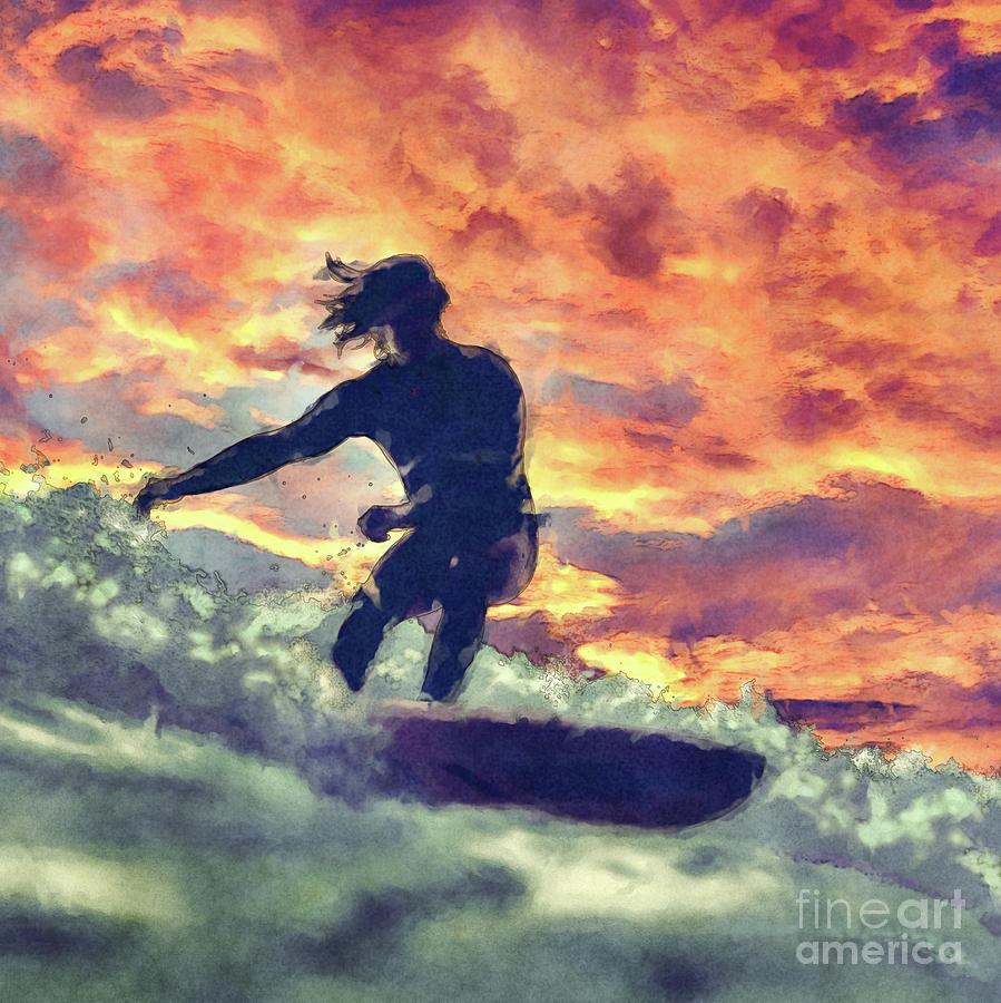 Surfing Digital Art - Surfing by Phil Perkins