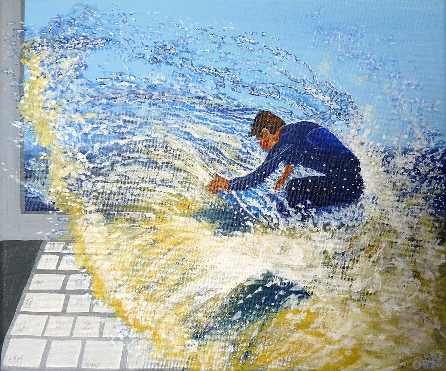 Surfing Painting - Surfing The Net by Bill Ogg