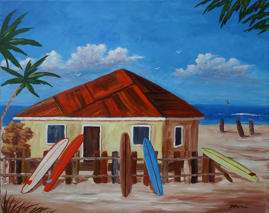 Surf Artist Painting - Surfing The West Indies by Bob Phillips
