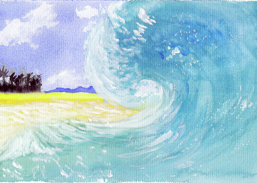 Seascape Painting - Surfing Time by Xiao Zeng