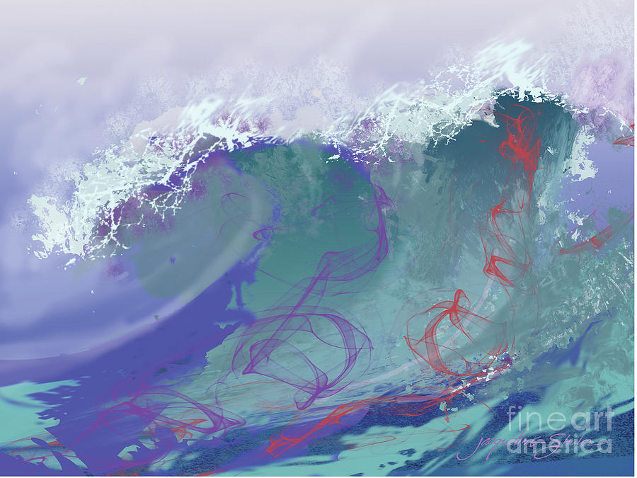 Seascape Digital Art - Surfs Up by Jacqueline Shuler