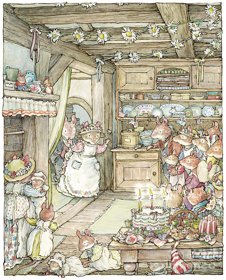 Brambly Hedge Drawing - Surprise at Mayblossom cottage by Brambly Hedge