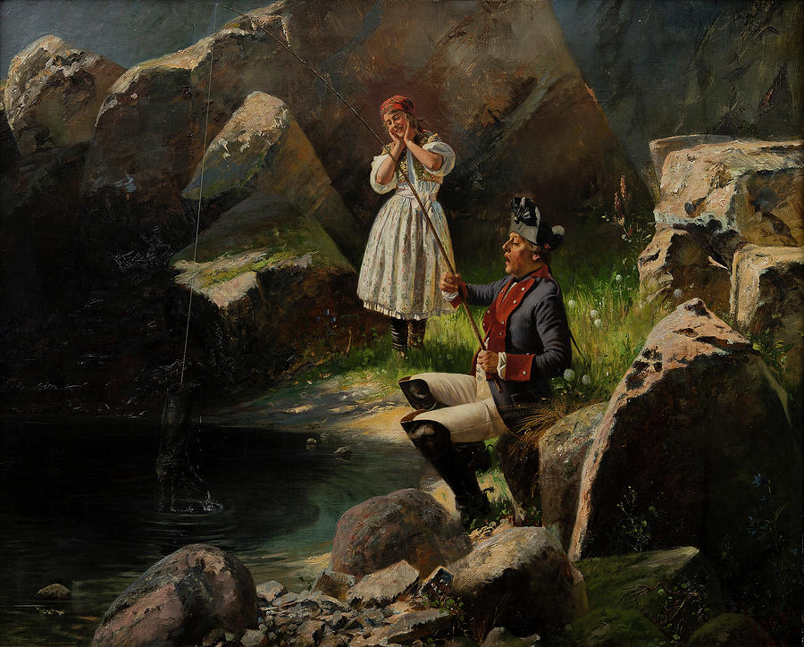 Fishing Painting - Surprising Catch by Georg Schobel