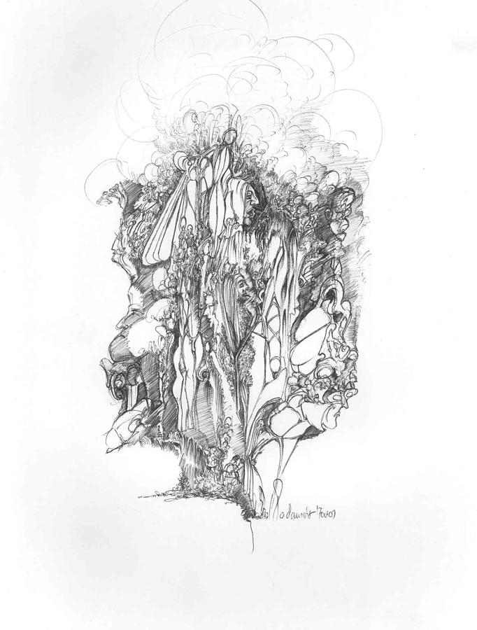 Surreal Drawing - Surreal 10-1 by Padamvir Singh