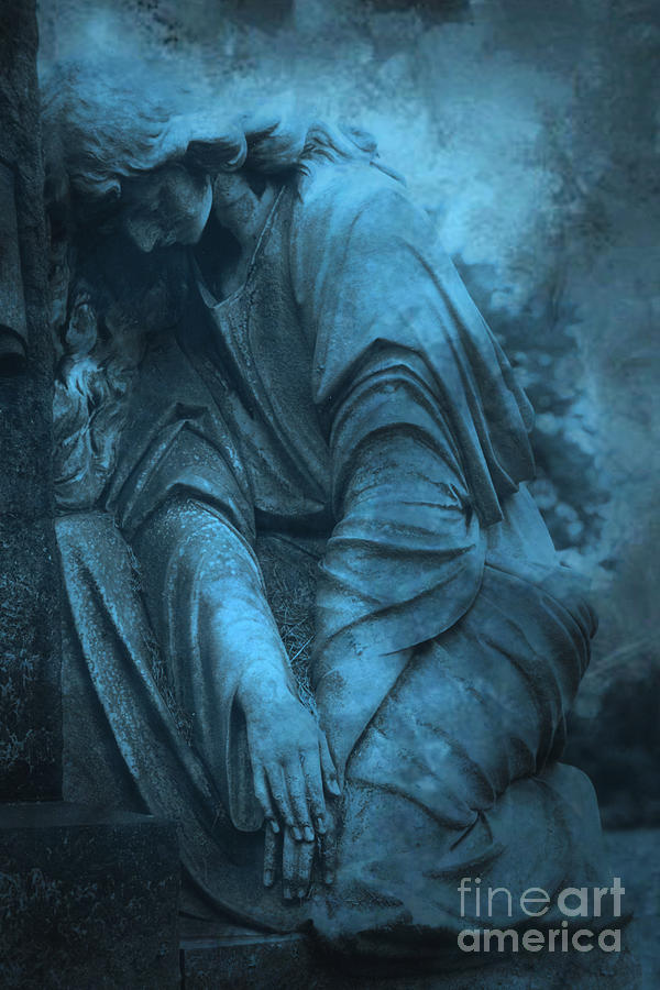 Angel Monuments Photograph - Surreal Cemetery Grave Mourner In Blue Sorrow  by Kathy Fornal