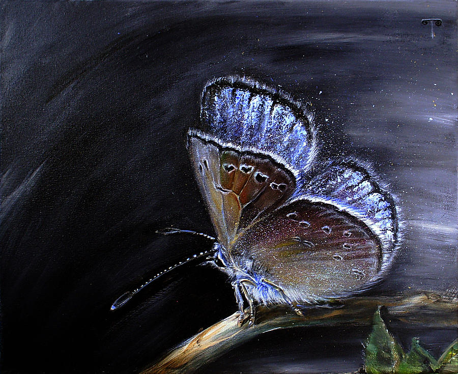 Still Life Painting - Surreal Common Blue by Tanya Byrd
