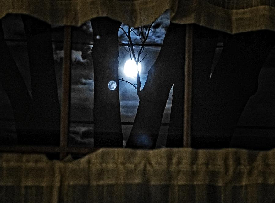 Moon Photograph - Surreal Double Moon by Dee Flouton