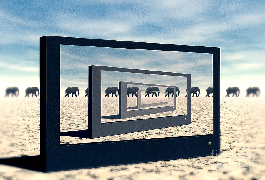 Surreal Digital Art - Surreal Elephant Desert Scene by Phil Perkins