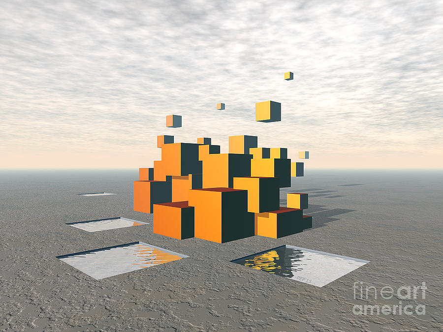 Surreal Digital Art - Surreal Floating Cubes by Phil Perkins
