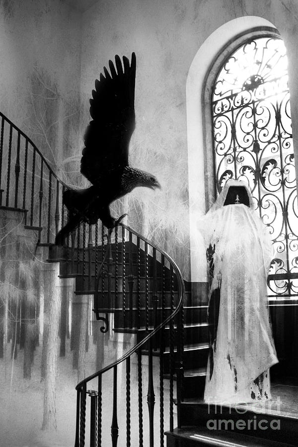 Fantasy horror photograph surreal gothic grim reaper with eagle black and white halloween spooky