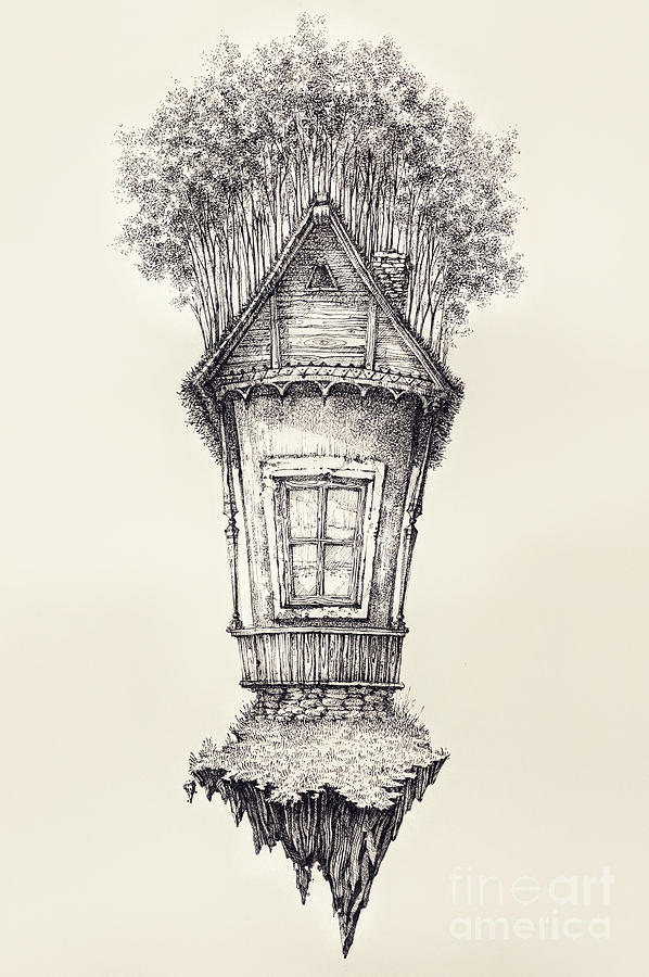 Drawing Drawing   Surreal Hand Drawing Of A Small House, Decorative Artwork    Ceb By
