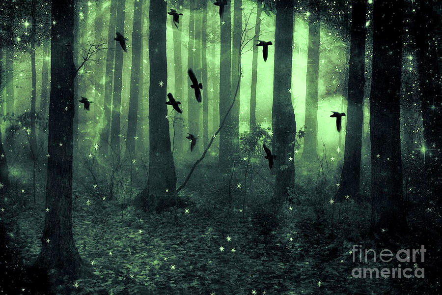Fantasy Starlit Trees Photograph - Surreal Haunting Fantasy Green Woodlands Trees Flying Ravens Stars Fairylights Sparkling Nature  by Kathy Fornal