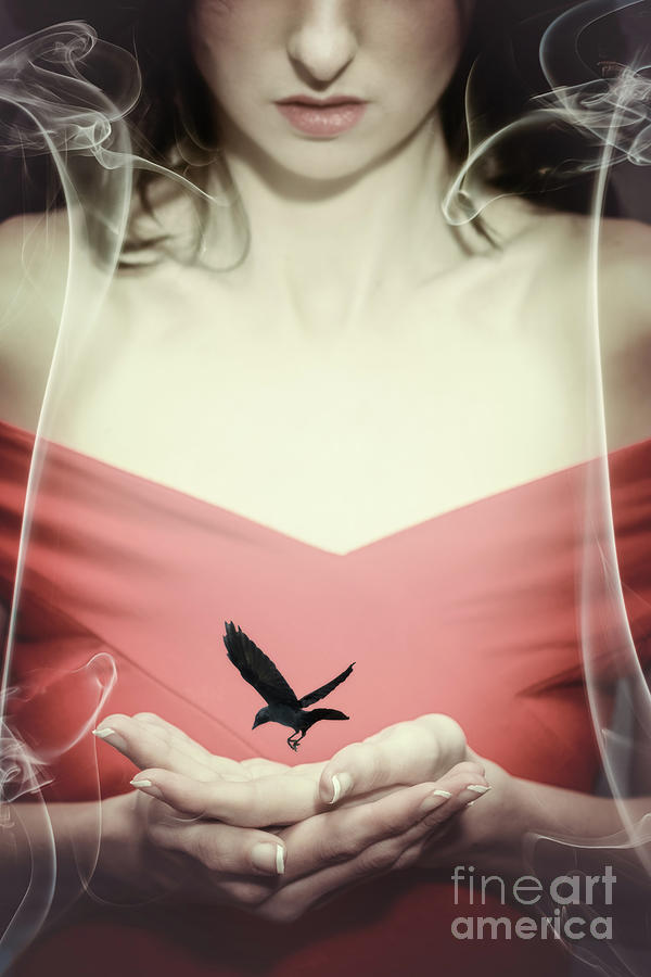 Surreal Photograph - Surreal Image Of Woman With Bird by Amanda Elwell