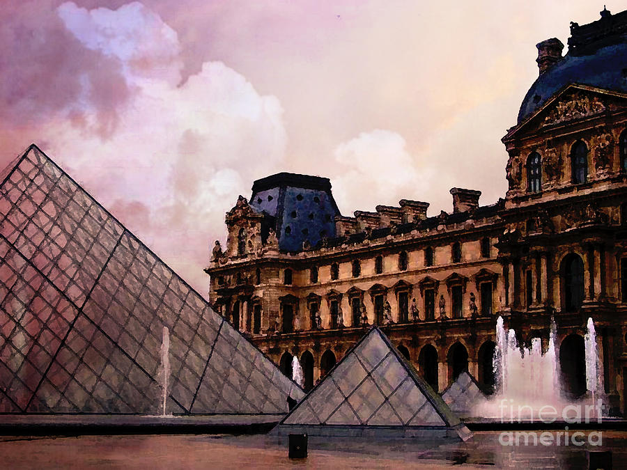 Lovely Surreal Louvre Museum Pyramid Watercolor Paintings - Paris Louvre  NC32