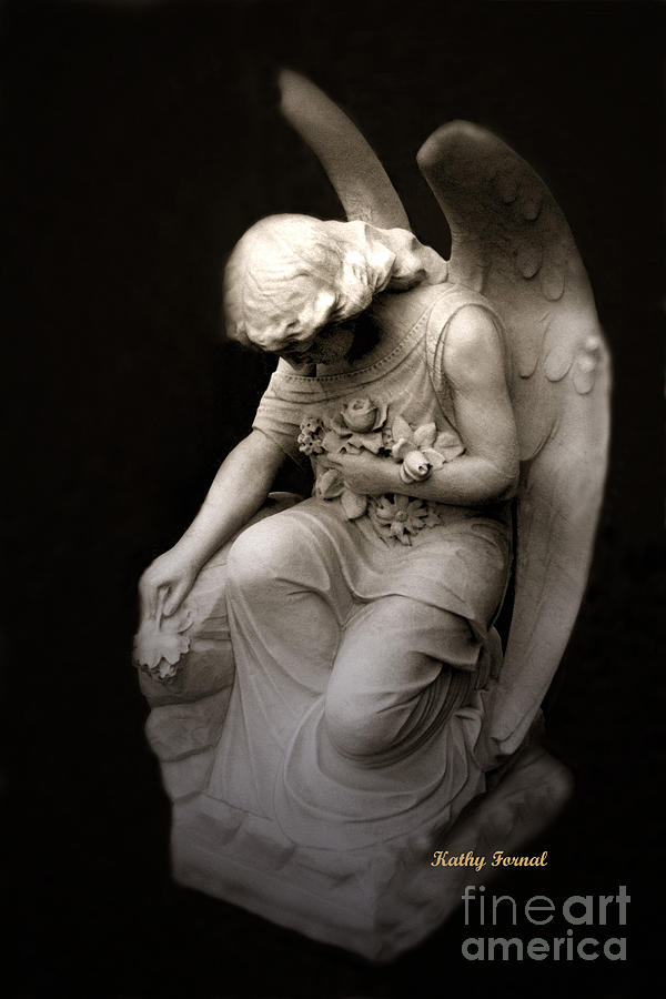 Surreal Sad Angel Kneeling In Prayer Photograph by Kathy Fornal