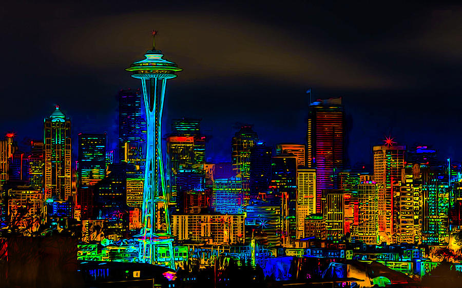Space Needle Photograph - Surreal Seattle Skyline by Ron Fleishman