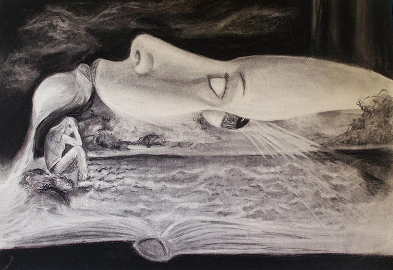 Surreal Drawing - Surreal Self Portrait On Darfur by Kate Westfall