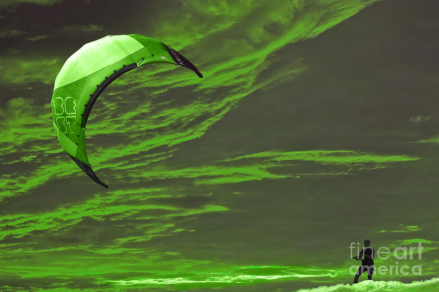 Surreal Surfing Green Photograph