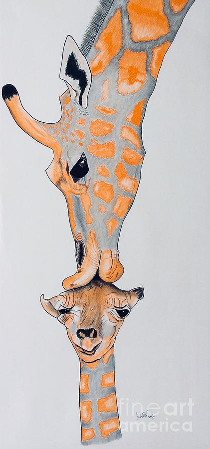 Surrealist Mother And Baby Giraffe  Pastel by Graham Wallwork