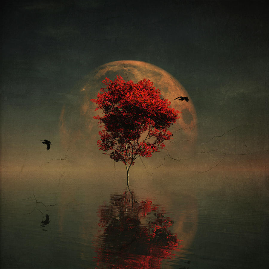 Surrealistic landscape with red mapple and full moon by Jan Keteleer