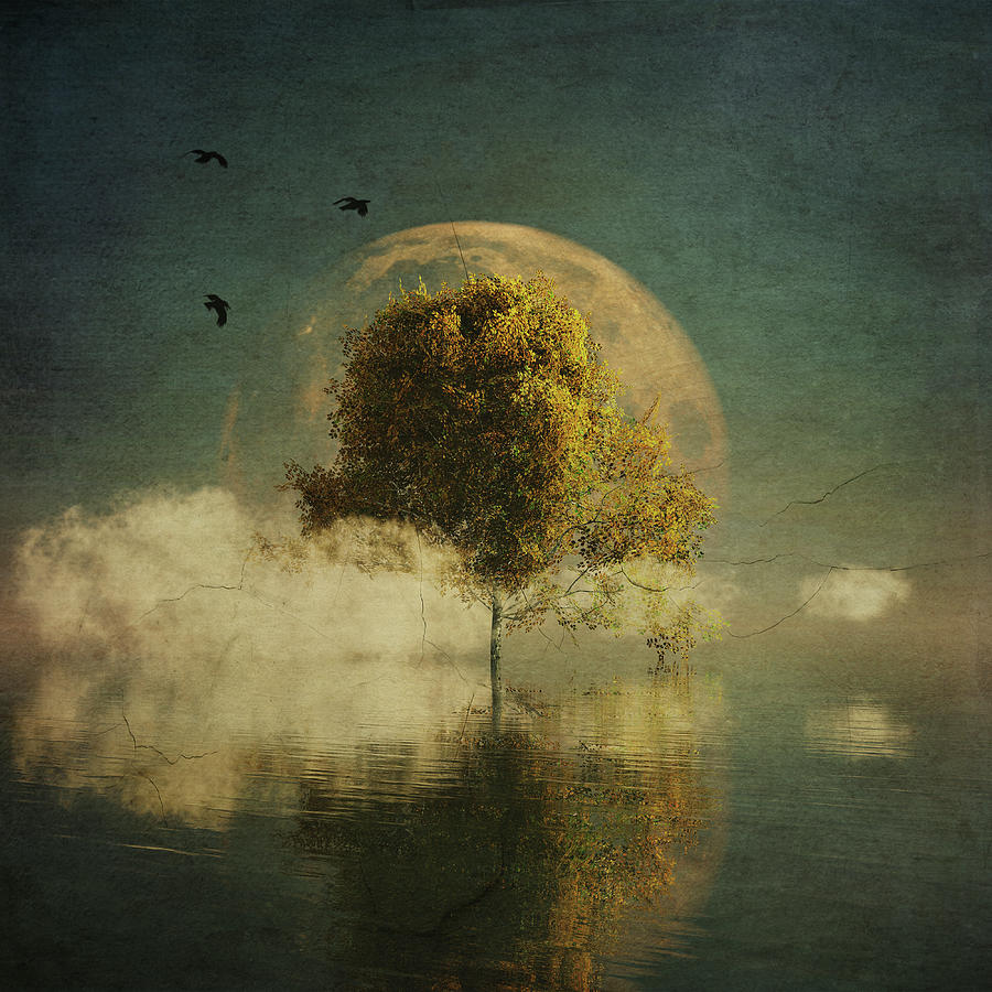 Surrealistic landscape with yellow birch and full moon by Jan Keteleer