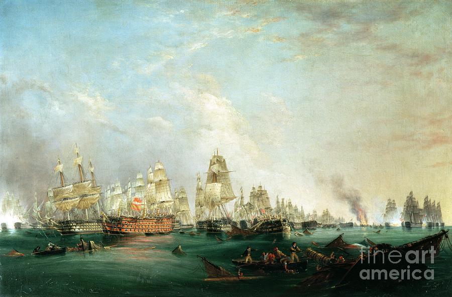Surrender Painting - Surrender of the Santissima Trinidad to Neptune The Battle of Trafalgar by Lieutenant Robert Strickland Thomas