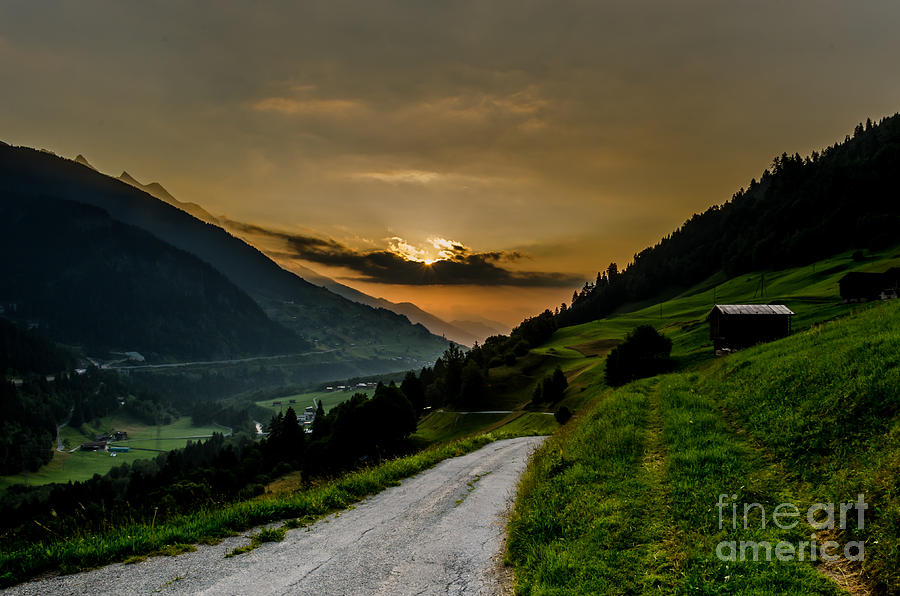Sunrise Photograph - Surselva Valley by Jeffrey Teeselink