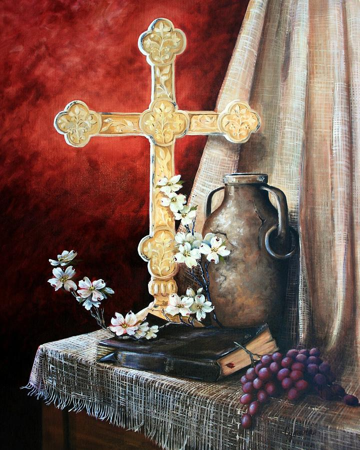 Cross Painting - Survey The Wonderous Cross by Cynara Shelton