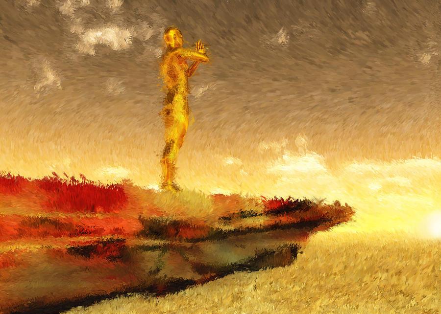 Yoga Painting - Surya Namaskar Part One Om Mritraya Namah by Randhir Rawatlal