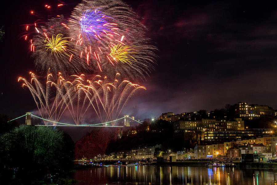 Suspension Bridge Fireworks by Paul Hennell