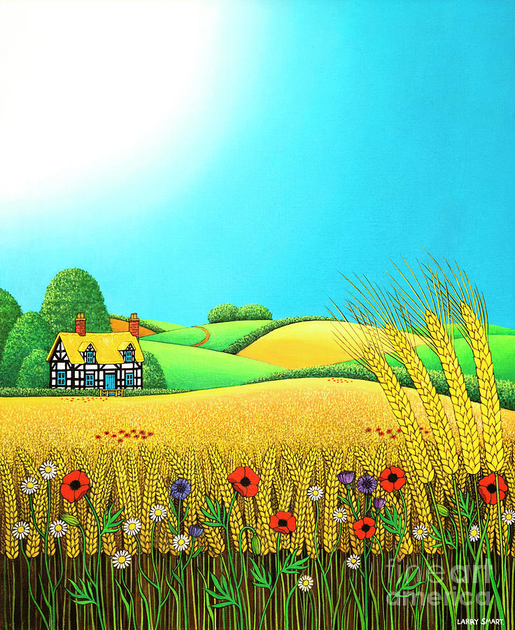 Sussex Painting - Sussex Wheatfields by Larry Smart