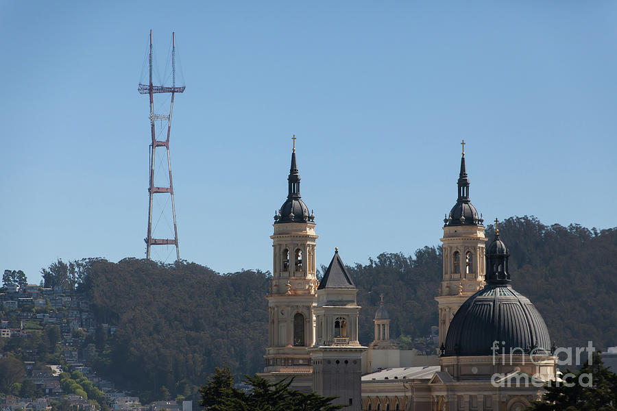 Sutro Tower and St Ignatius Church San Francisco California 5d3268 by San Francisco Art and Photography