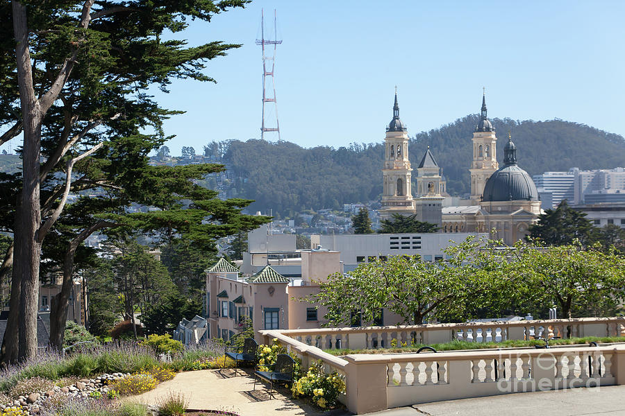 Sutro Tower and St Ignatius Church San Francisco California 5d3278 by San Francisco Art and Photography