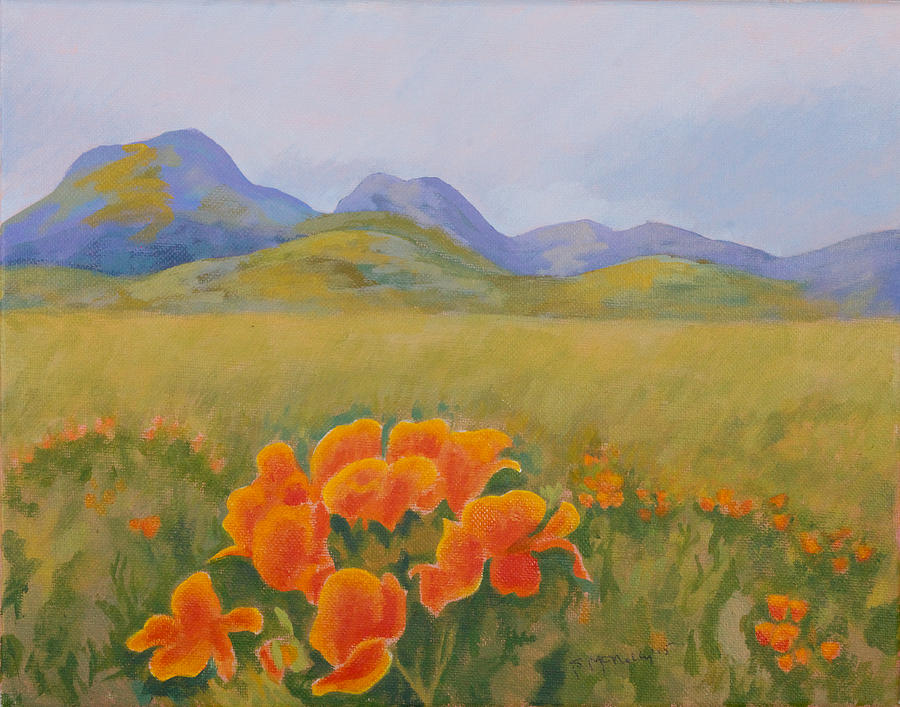 Sutter Buttes with California Poppies Painting by Susan ...