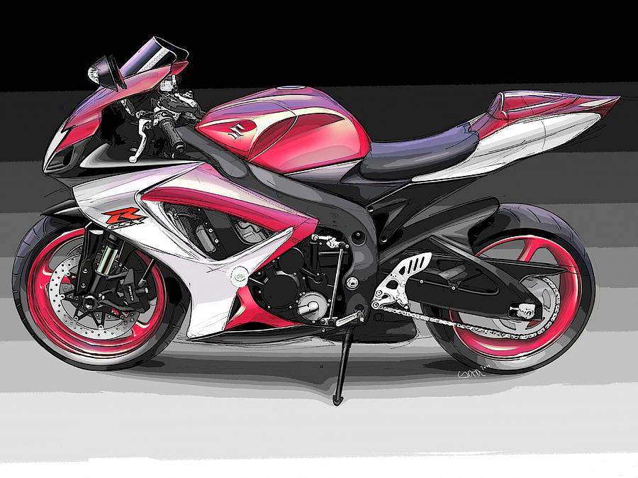 Motorbikes Digital Art - Suzuki Gsx-r 600 by Konrad Labedz