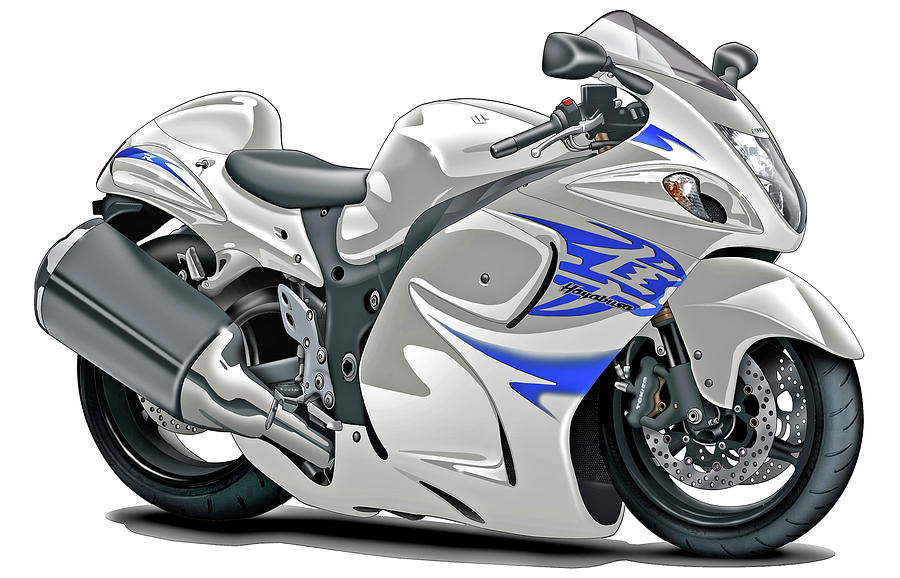 Suzuki Hayabusa White-blue Bike Digital Art by Maddmax