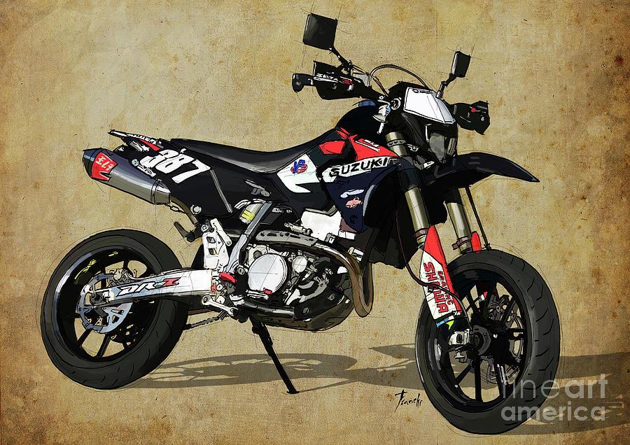 Suzuki Digital Art - Suzuki Race Motorcycle. 387. by Drawspots Illustrations