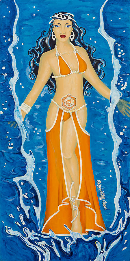 Sacral Chakra Painting - Svadhishthana Sacral Chakra Goddess by Divinity MonSun Chan