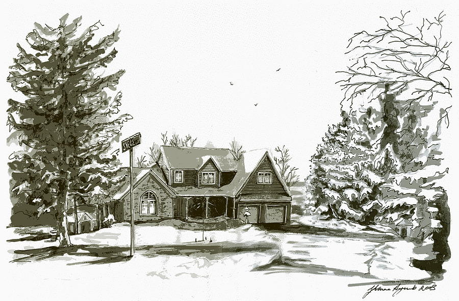 House Painting - Svege Ny In Winter by Yvonne Ayoub