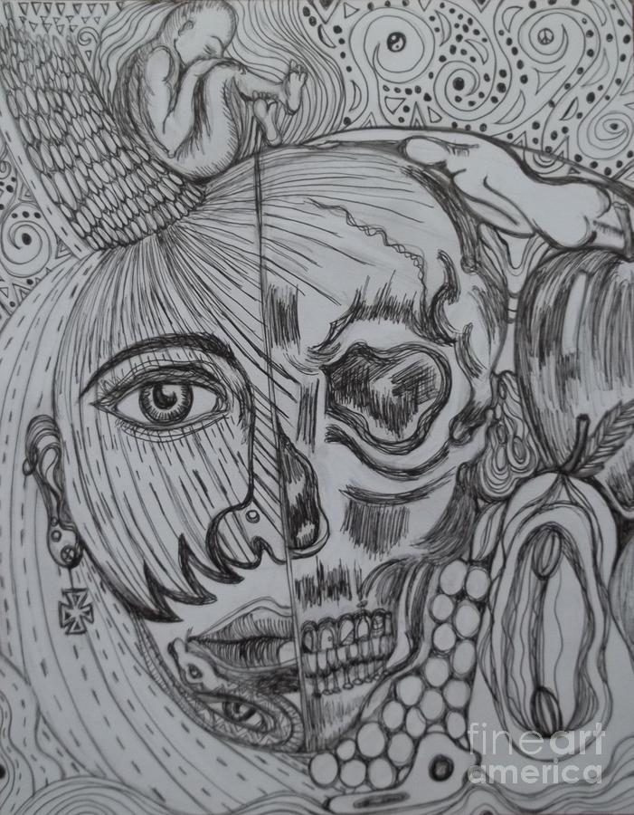 Skull Drawing - Swallowed Pride by Anita Wexler