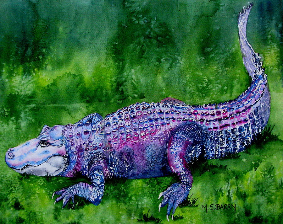 Gator Painting - Swamp Gator by Maria Barry