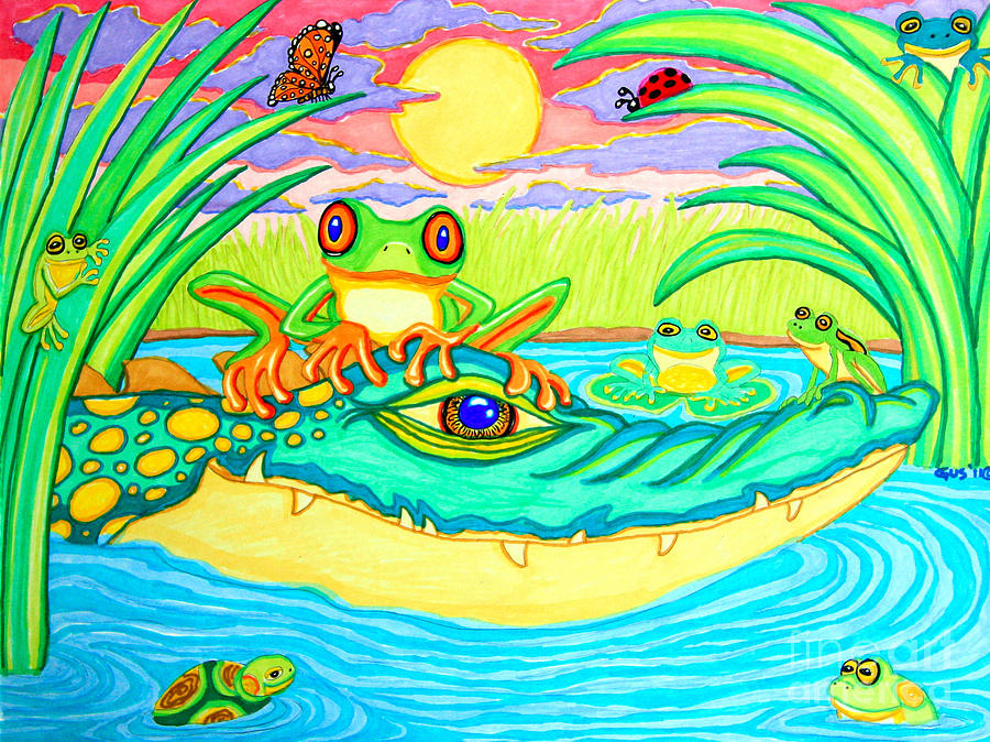 Frog Drawing - Swamp Life by Nick Gustafson