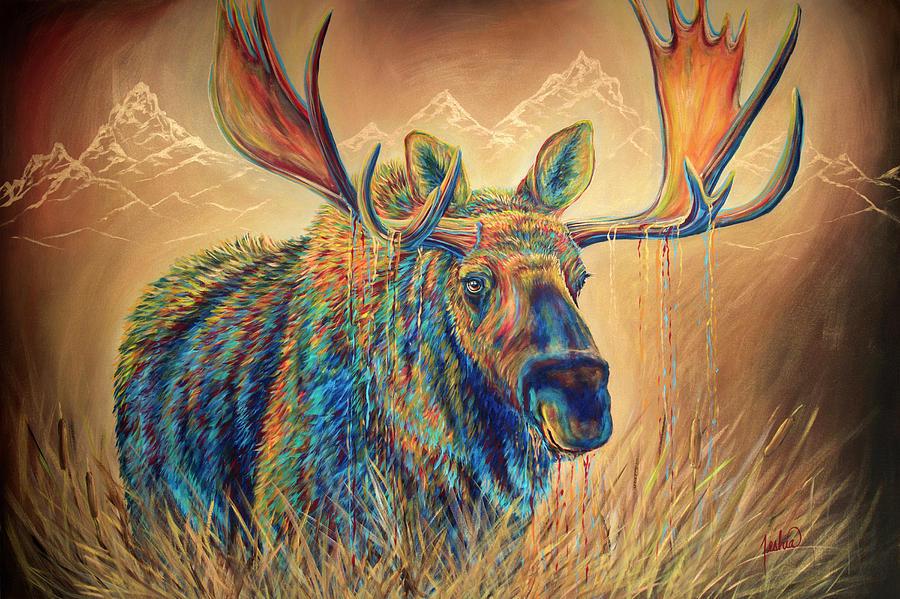 Moose Painting - Swamp Thing by Teshia Art