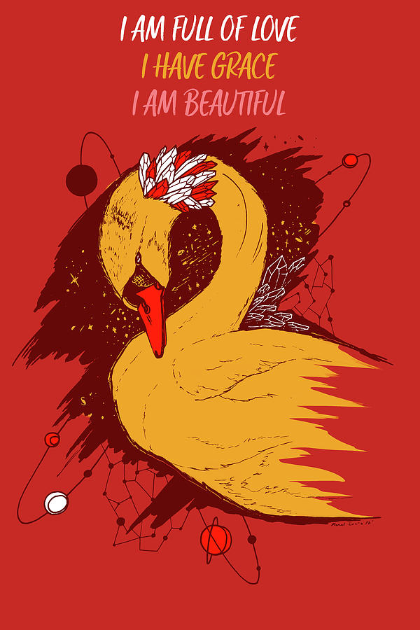 Swan Among The Stars - Affirmation Series - Red and Gold by Kenal Louis