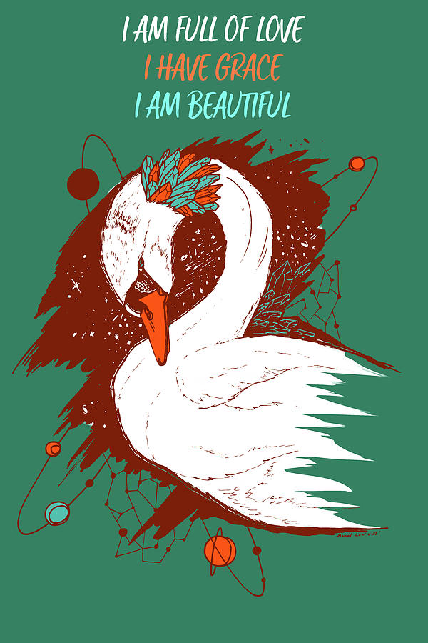 Swan Among The Stars - Affirmation Series - Teal and Orange by Kenal Louis