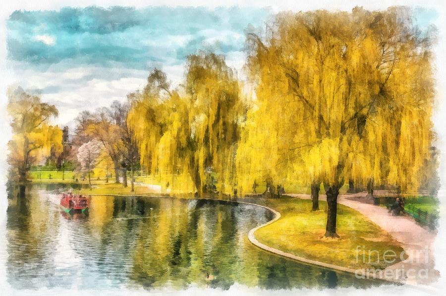 Watercolor Photograph - Swan Boats Boston Public Garden by Edward Fielding