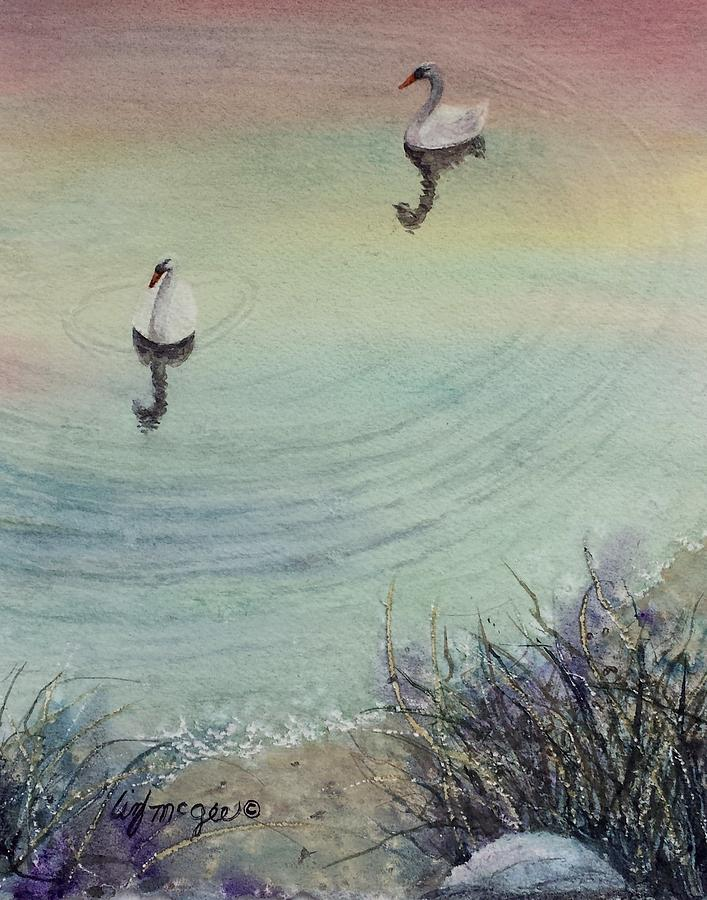 Swans Painting - Swan Dance by Lizbeth McGee