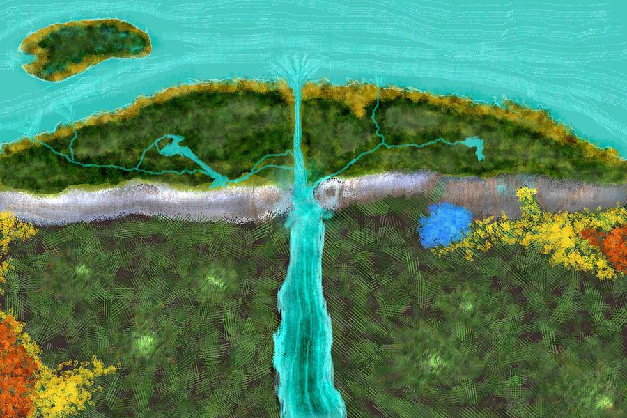Sea Digital Art - Swan Dive Cliff by Kab