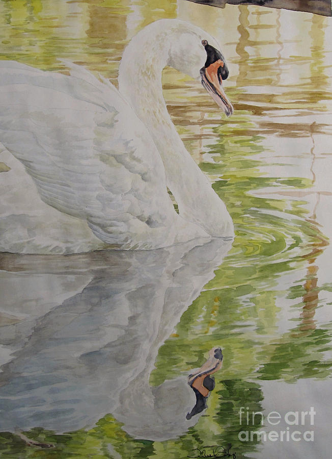 Watercolor Painting - Swan Lake-LEP Available by Theresa Higby